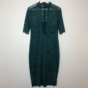 Express mock neck lace floral green sheath dress